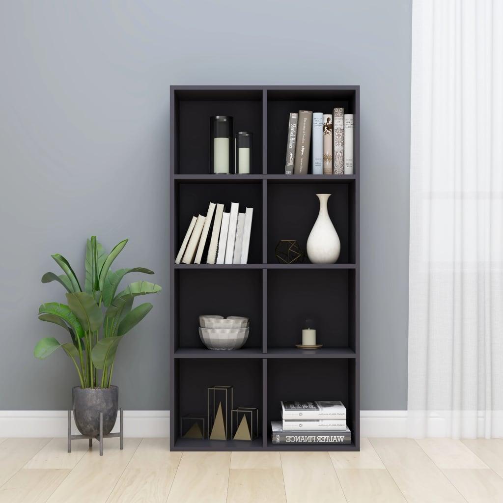 vidaXL Regał na książki/szafka, wysoki połysk, szary, 66x30x130 cm