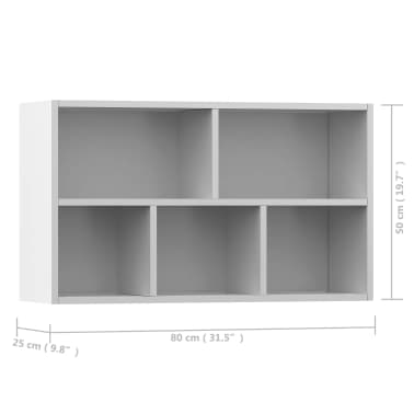 "vidaXL Book Cabinet/Sideboard White 17.7""x9.8""x31.5"" Chipboard[12/12]"