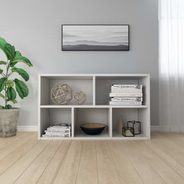 "vidaXL Book Cabinet/Sideboard White 17.7""x9.8""x31.5"" Chipboard[4/12]"