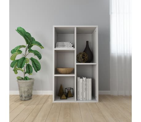 "vidaXL Book Cabinet/Sideboard White 17.7""x9.8""x31.5"" Chipboard[1/12]"