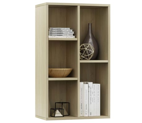 """vidaXL Book Cabinet/Sideboard Sonoma Oak 17.7""""x9.8""""x31.5"""" Chipboard[3/12]"""