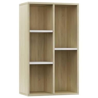 "vidaXL Book Cabinet/Sideboard White and Sonoma Oak 17.7""x9.8""x31.5""[2/12]"