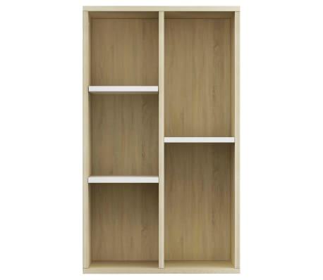 "vidaXL Book Cabinet/Sideboard White and Sonoma Oak 17.7""x9.8""x31.5""[4/12]"