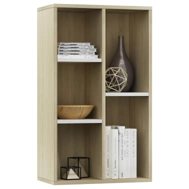 "vidaXL Book Cabinet/Sideboard White and Sonoma Oak 17.7""x9.8""x31.5""[3/12]"