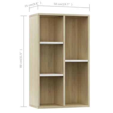 "vidaXL Book Cabinet/Sideboard White and Sonoma Oak 17.7""x9.8""x31.5""[12/12]"