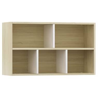 "vidaXL Book Cabinet/Sideboard White and Sonoma Oak 17.7""x9.8""x31.5""[8/12]"
