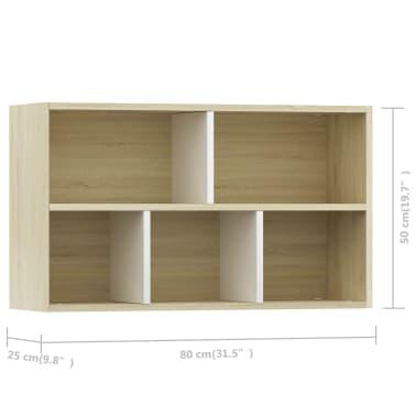 "vidaXL Book Cabinet/Sideboard White and Sonoma Oak 17.7""x9.8""x31.5""[11/12]"