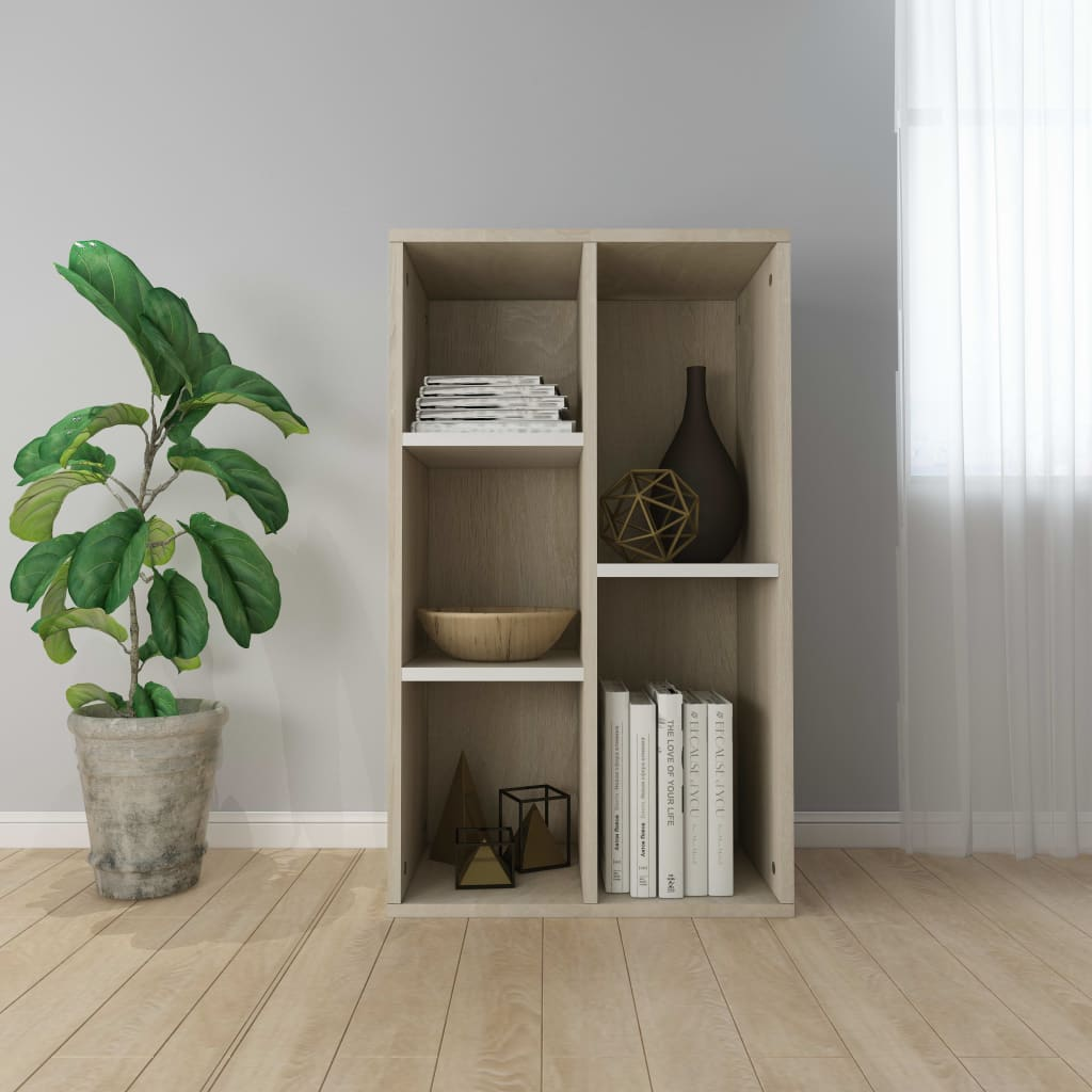 vidaXL fehér/sonoma-tölgy forgácslap könyv-/tálalószekrény 45x25x80 cm