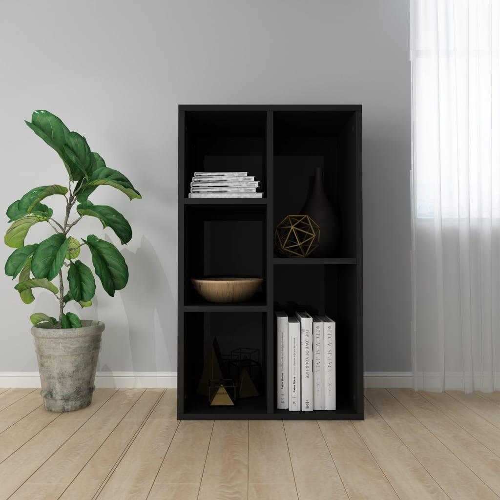 vidaXL Regał na książki/szafka, wysoki połysk, czarny, 45x25x80 cm