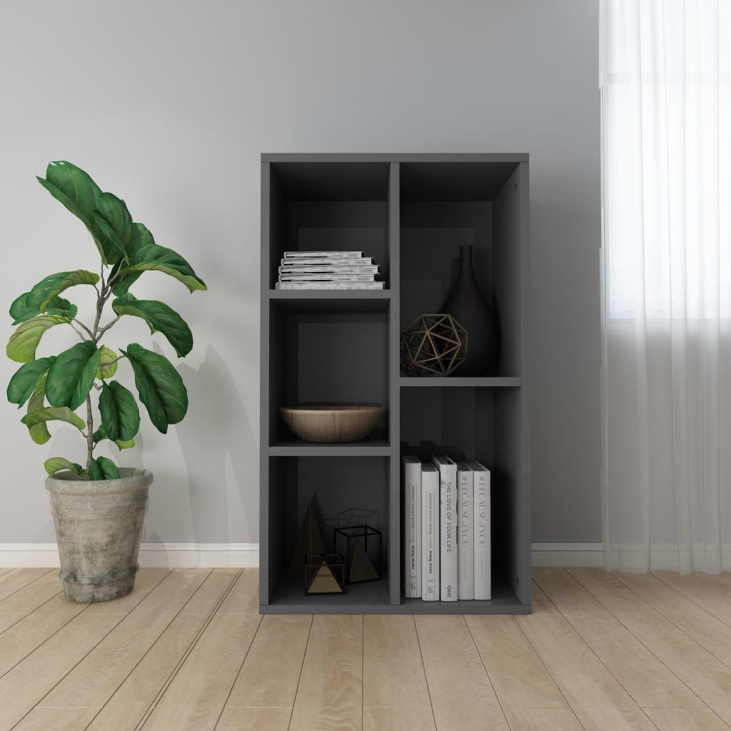 Knihovna/příborník šedá vysoký lesk 45 x 25 x 80 cm dřevotříska