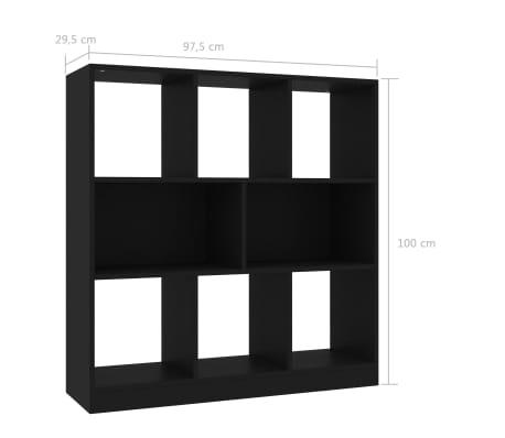 "vidaXL Book Cabinet Black 38.4""x11.6""x39.4"" Chipboard[6/6]"