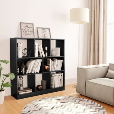"vidaXL Book Cabinet Black 38.4""x11.6""x39.4"" Chipboard[1/6]"