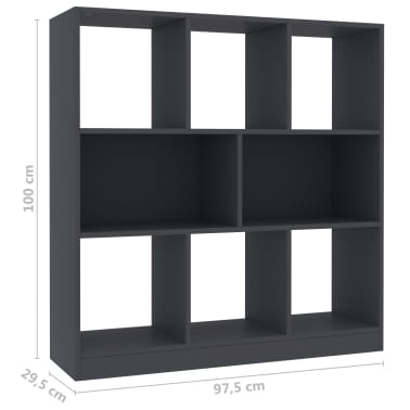 "vidaXL Book Cabinet Gray 38.4""x11.6""x39.4"" Chipboard[6/6]"