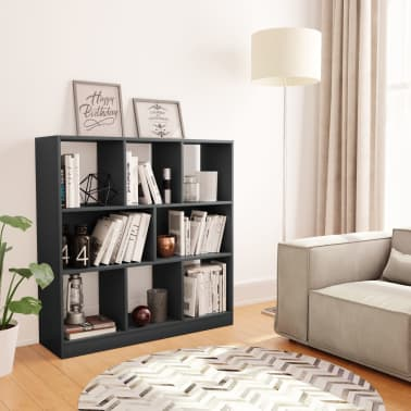 "vidaXL Book Cabinet Gray 38.4""x11.6""x39.4"" Chipboard[1/6]"