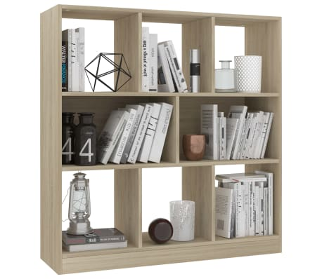 "vidaXL Book Cabinet Sonoma Oak 38.4""x11.6""x39.4"" Chipboard[3/6]"
