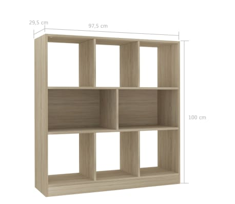 "vidaXL Book Cabinet Sonoma Oak 38.4""x11.6""x39.4"" Chipboard[6/6]"