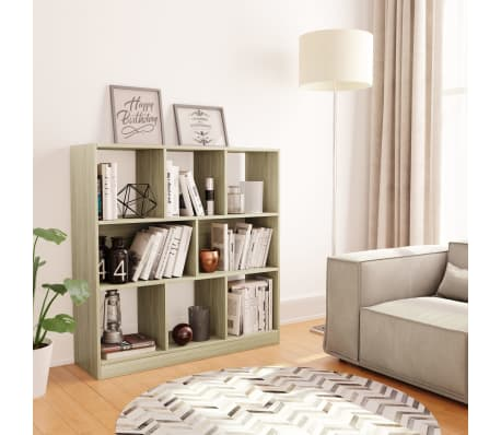 "vidaXL Book Cabinet Sonoma Oak 38.4""x11.6""x39.4"" Chipboard[1/6]"