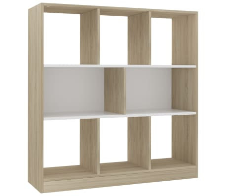 "vidaXL Book Cabinet White and Sonoma Oak 38.4""x11.6""x39.4"" Chipboard[2/6]"