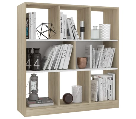 "vidaXL Book Cabinet White and Sonoma Oak 38.4""x11.6""x39.4"" Chipboard[3/6]"