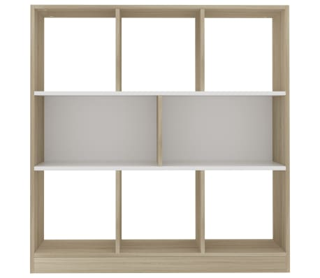 "vidaXL Book Cabinet White and Sonoma Oak 38.4""x11.6""x39.4"" Chipboard[4/6]"