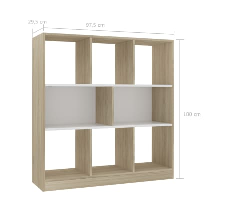 "vidaXL Book Cabinet White and Sonoma Oak 38.4""x11.6""x39.4"" Chipboard[6/6]"