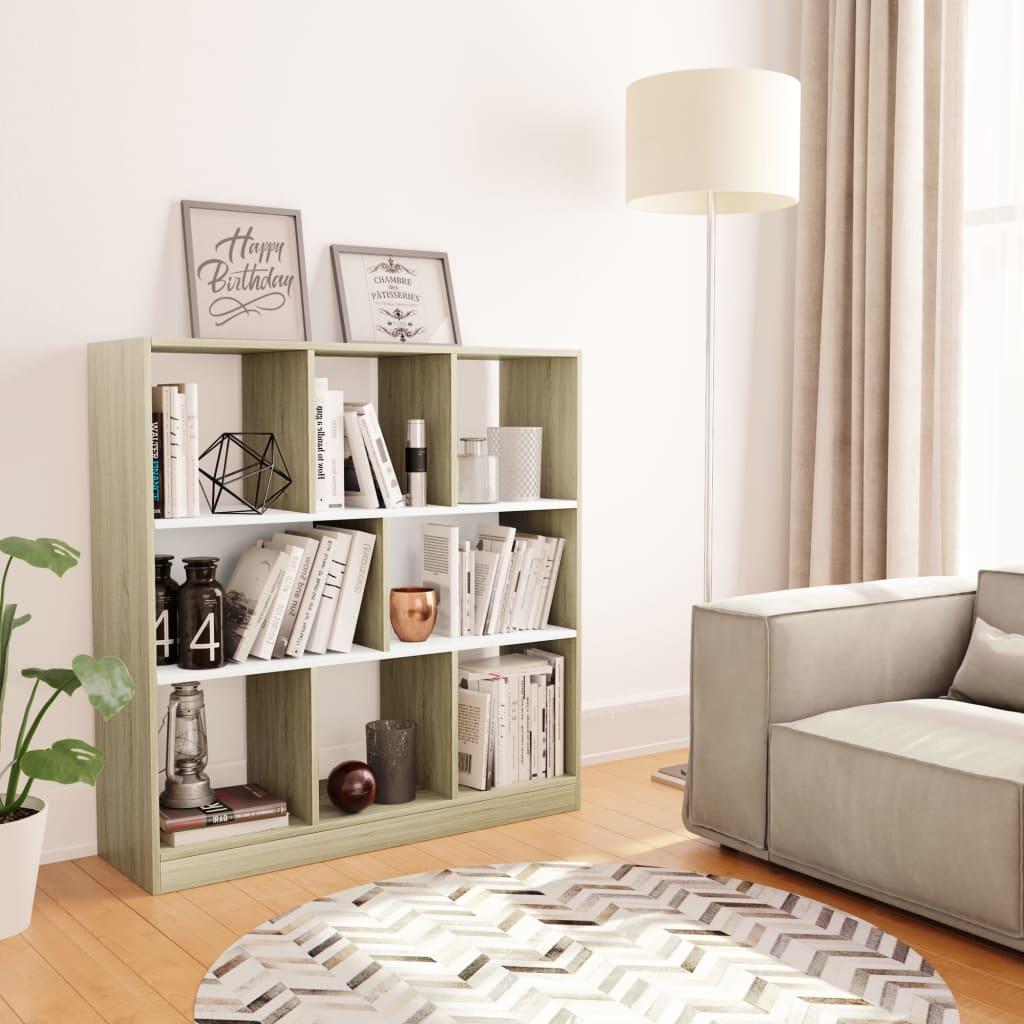 vidaXL Libreria Bianca e Rovere Sonoma 97,5x29,5x100 cm in Truciolato