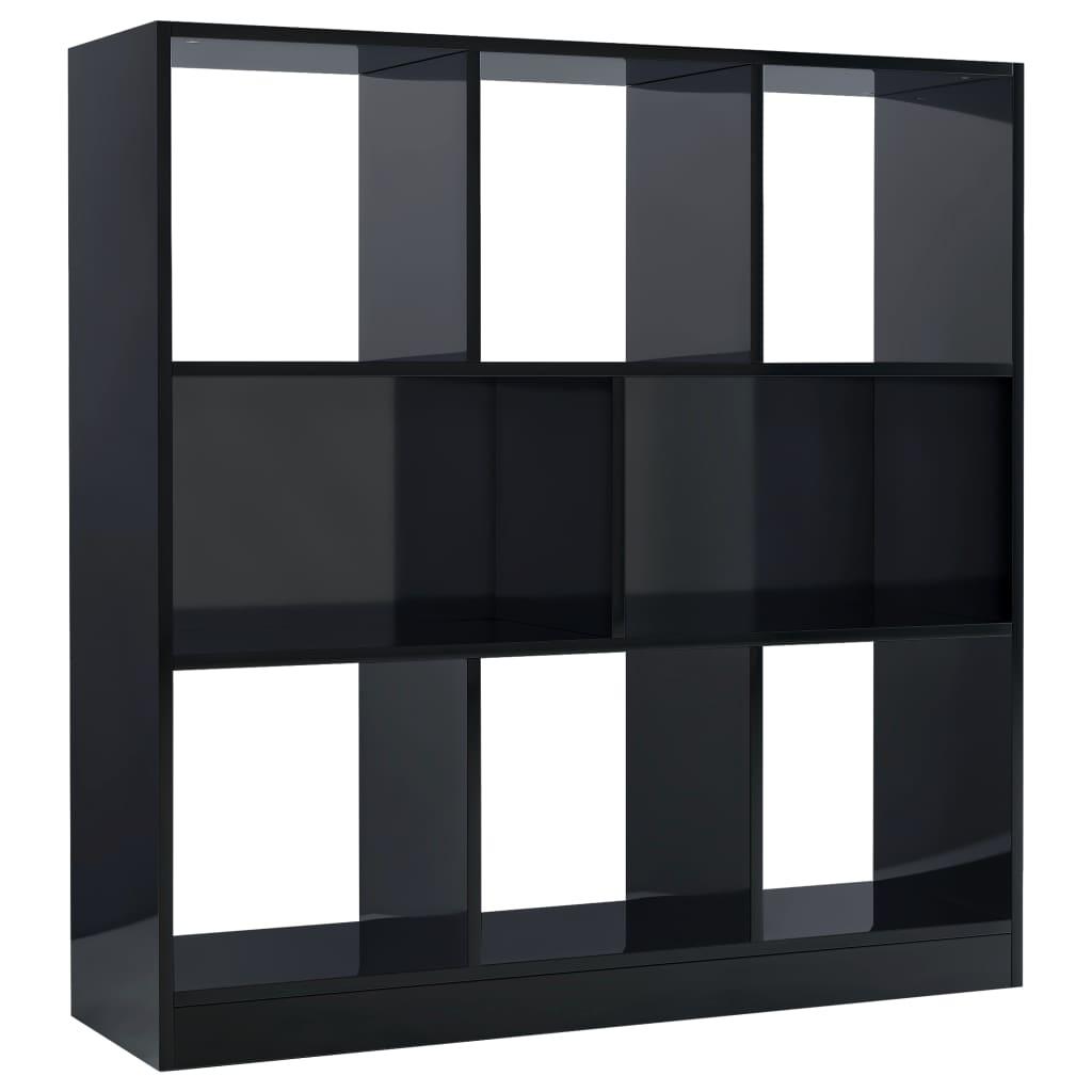 vidaXL Βιβλιοθήκη Γυαλιστερό Μαύρο 97,5x29,5x100 εκ. από Μοριοσανίδα