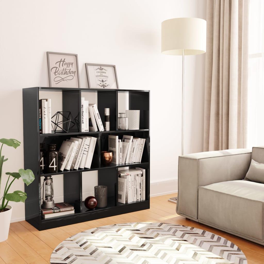 vidaXL Bibliotecă, negru lucios, 97,5 x 29,5 x 100 cm, PAL poza vidaxl.ro