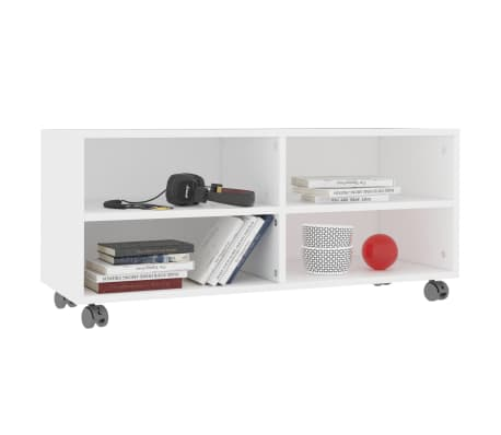 "vidaXL TV Cabinet with Castors White 35.4""x13.8""x13.8"" Chipboard[3/6]"
