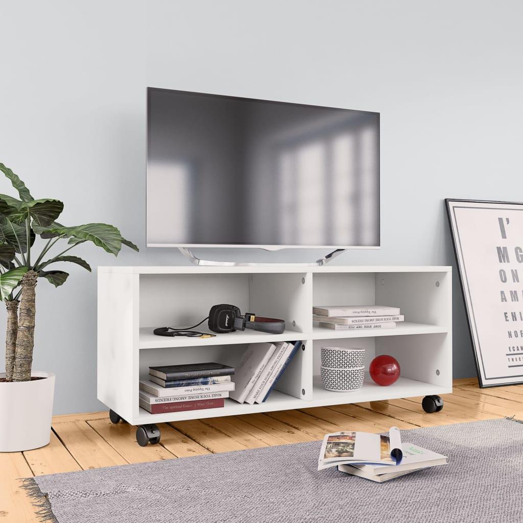 vidaXL Tv-meubel met wieltjes 90x35x35 cm spaanplaat wit