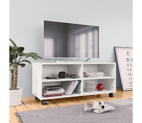 "vidaXL TV Cabinet with Castors White 35.4""x13.8""x13.8"" Chipboard[1/6]"