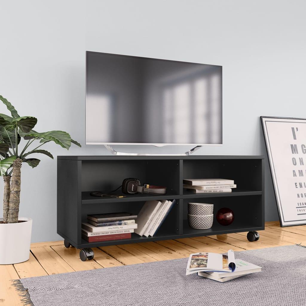 TV stolek s kolečky černý 90 x 35 x 35 cm dřevotříska