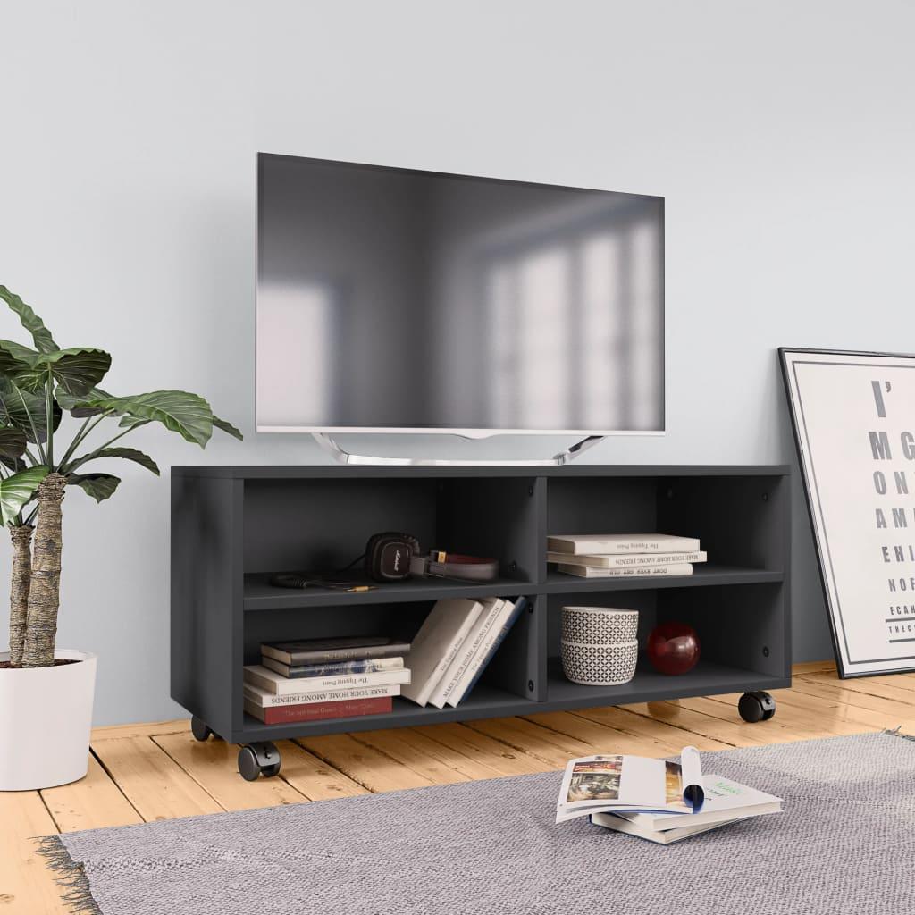 TV stolek s kolečky šedý 90 x 35 x 35 cm dřevotříska