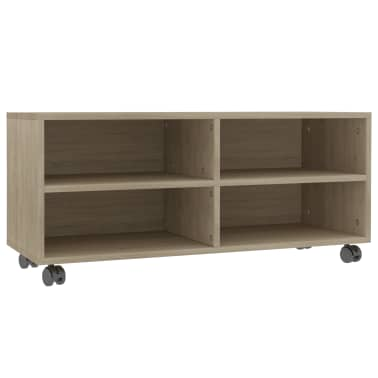 "vidaXL TV Cabinet with Castors Sonoma Oak 35.4""x13.8""x13.8"" Chipboard[2/6]"