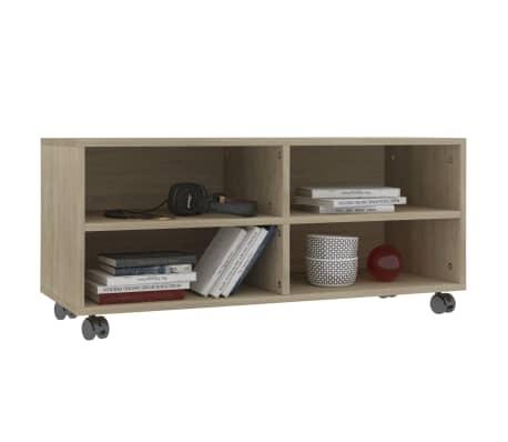 "vidaXL TV Cabinet with Castors Sonoma Oak 35.4""x13.8""x13.8"" Chipboard[3/6]"