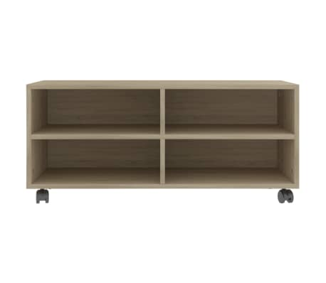 "vidaXL TV Cabinet with Castors Sonoma Oak 35.4""x13.8""x13.8"" Chipboard[4/6]"