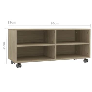 "vidaXL TV Cabinet with Castors Sonoma Oak 35.4""x13.8""x13.8"" Chipboard[6/6]"