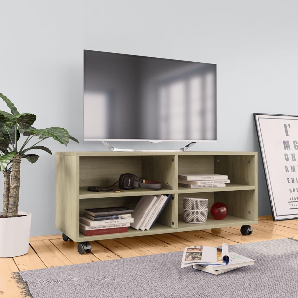 TV stolek s kolečky dub sonoma 90 x 35 x 35 cm dřevotříska