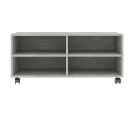 "vidaXL TV Cabinet with Castors Concrete Gray 35.4""x13.8""x13.8"" Chipboard[4/6]"