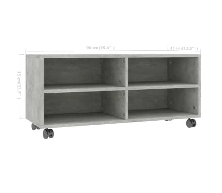 "vidaXL TV Cabinet with Castors Concrete Gray 35.4""x13.8""x13.8"" Chipboard[6/6]"