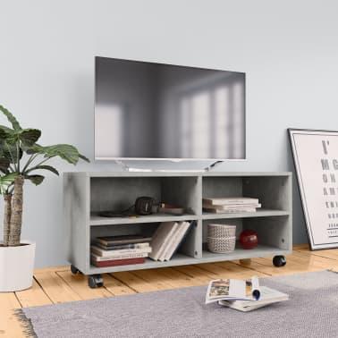 "vidaXL TV Cabinet with Castors Concrete Gray 35.4""x13.8""x13.8"" Chipboard[1/6]"