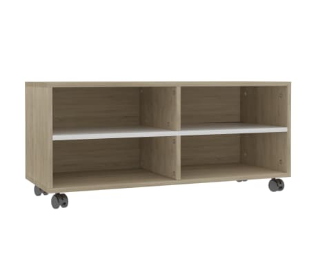 "vidaXL TV Cabinet with Castors White and Sonoma Oak 35.4""x13.8""x13.8"" Chipboard"