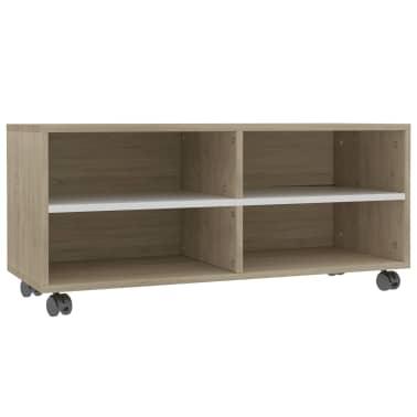 "vidaXL TV Cabinet with Castors White and Sonoma Oak 35.4""x13.8""x13.8"" Chipboard[2/6]"
