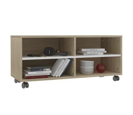 "vidaXL TV Cabinet with Castors White and Sonoma Oak 35.4""x13.8""x13.8"" Chipboard[3/6]"