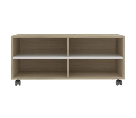 "vidaXL TV Cabinet with Castors White and Sonoma Oak 35.4""x13.8""x13.8"" Chipboard[4/6]"