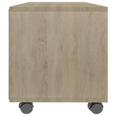 "vidaXL TV Cabinet with Castors White and Sonoma Oak 35.4""x13.8""x13.8"" Chipboard[5/6]"