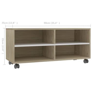 "vidaXL TV Cabinet with Castors White and Sonoma Oak 35.4""x13.8""x13.8"" Chipboard[6/6]"