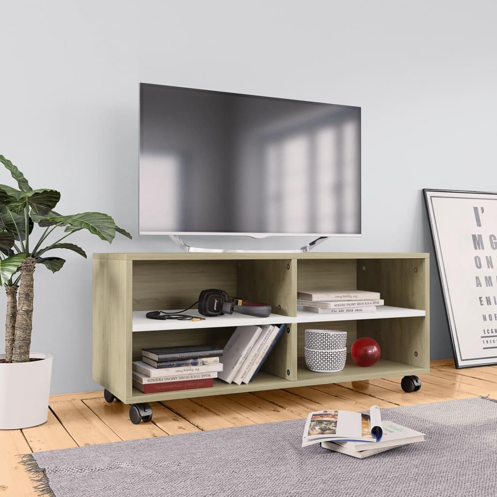vidaXL Tv-meubel met wieltjes 90x35x35 cm spaanplaat wit en sonoma