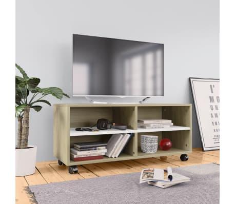 "vidaXL TV Cabinet with Castors White and Sonoma Oak 35.4""x13.8""x13.8"" Chipboard[1/6]"