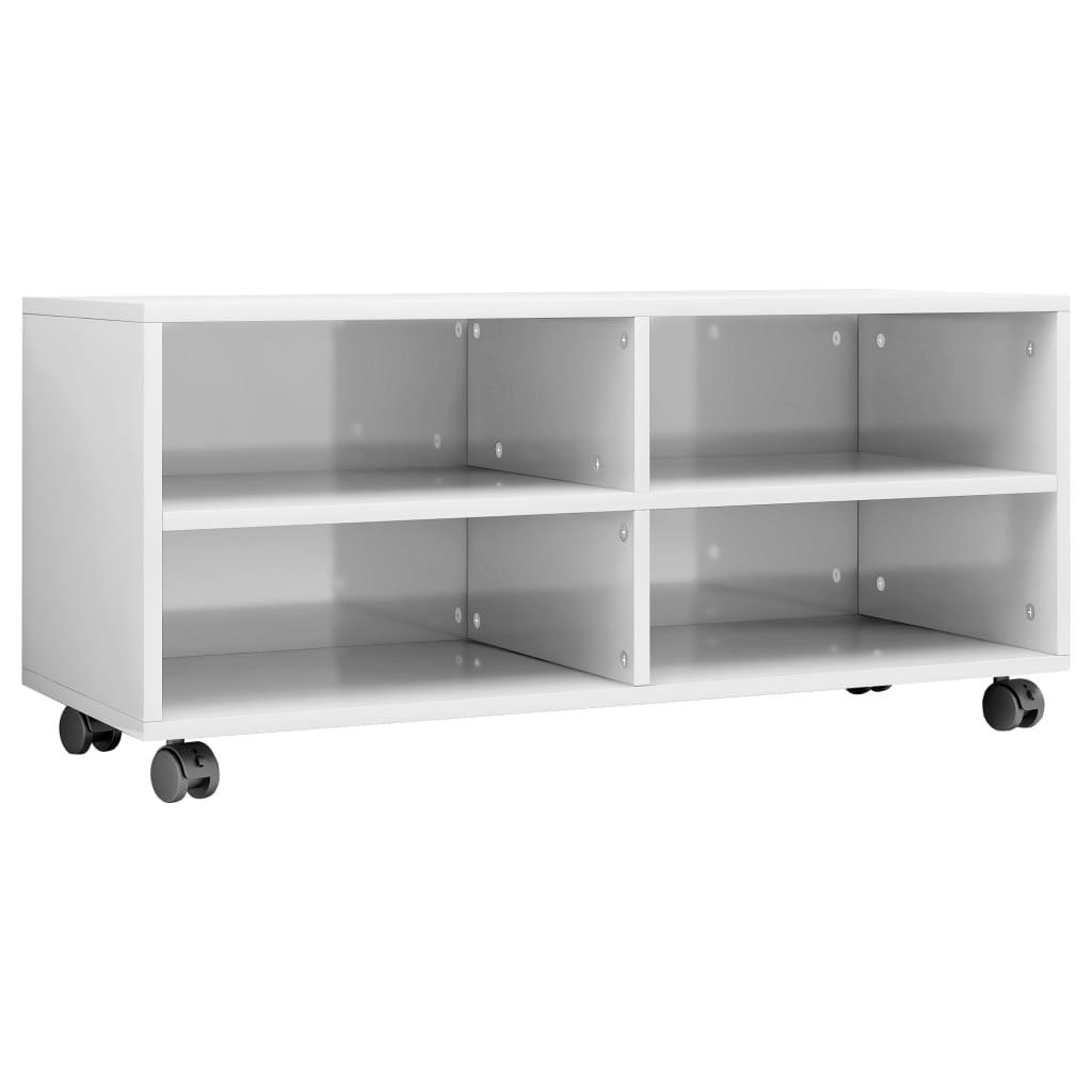 vidaXL Έπιπλο TV με Ρόδες Γυαλιστερό Λευκό 90x35x35 εκ. Μοριοσανίδα